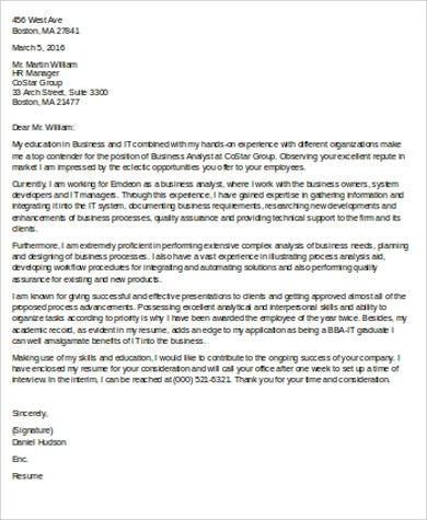 8 Sample Business Analyst Cover Letters Sample Templates