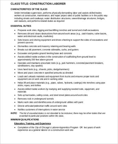 Construction Laborer Job Description Oursearchworld Com