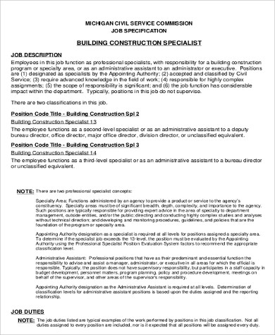 7 Construction Worker Job Description Samples Sample