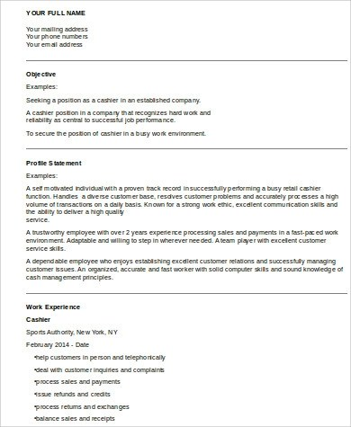 8 Cashier Resume Samples Sample Templates