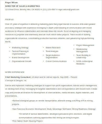 7 Sample Sales And Marketing Resumes Sample Templates