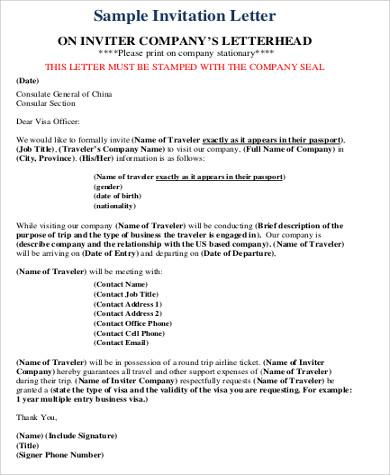 sample invitation letters for visa in