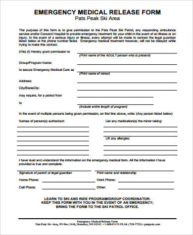 9+ Medical Release Form for Child Samples | Sample Templates