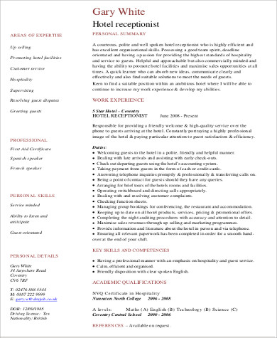 8 Receptionist Resume Samples Sample Templates