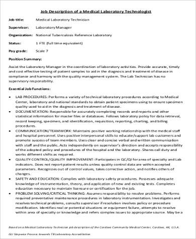 6 Medical Technologist Job Description Samples Sample