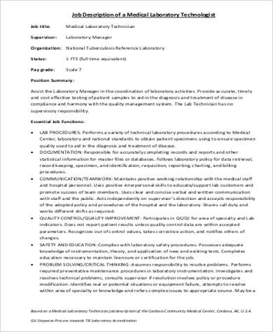 Medical Technologist Job Description