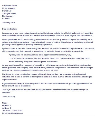 Free 9 Sample Executive Cover Letter Templates In Ms Word Pdf