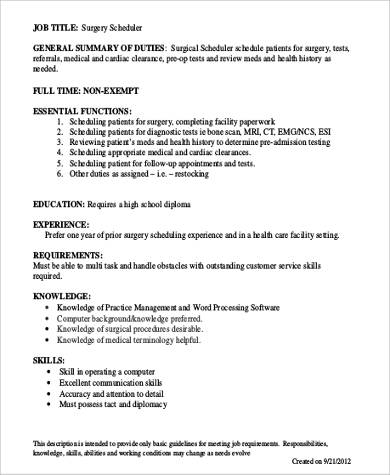 6 Surgery Scheduler Job Description Samples Sample