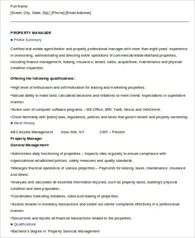 If you are in a management position your resume will be generally formatted similar to an executive position. Free 8 Sample Property Management Resume Templates In Ms Word Pdf