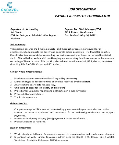 6 Payroll Coordinator Job Description Samples Sample