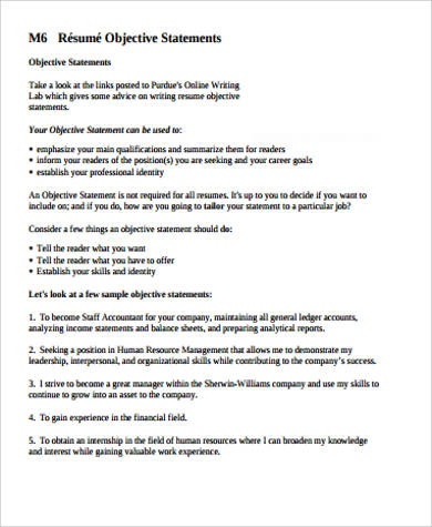 Resume Objective Sentences Sample Resume Objectives Statements