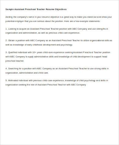 Preschool Teacher Resume Objective Teacher Resume Objective