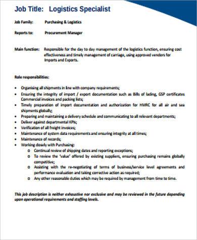 Logistics Specialist Job Description Sample  7 Examples in Word PDF