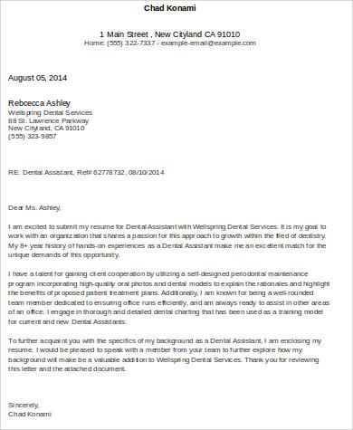 6 Cover Letter For Dental Assistant Sample Templates