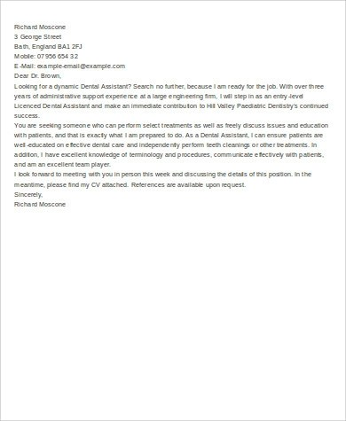 Cover Letter for Dental Assistant  6 Examples in Word PDF