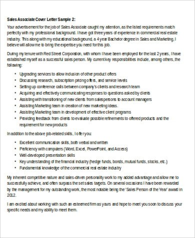 Cover Letter for Sales Associate  8 Examples in Word PDF