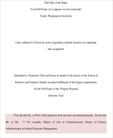7 Sample Cover Pages For Research Paper Sample Templates