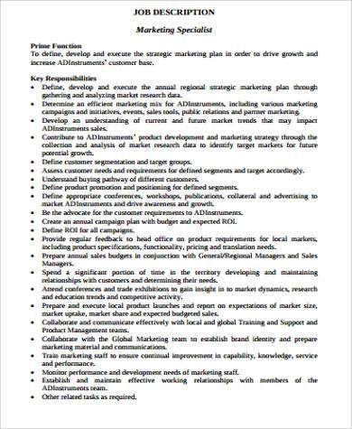 Sample Marketing Job Description  12 Examples in Word PDF