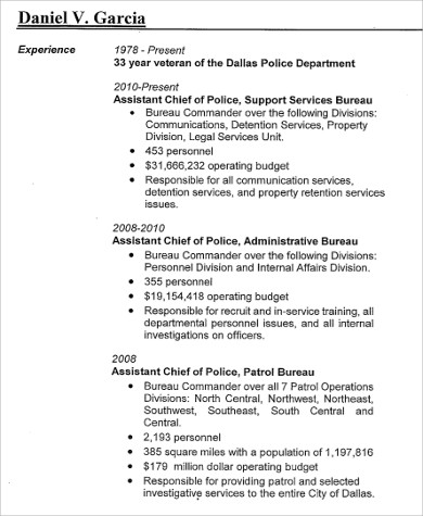8 Sample Police Resumes Sample Templates