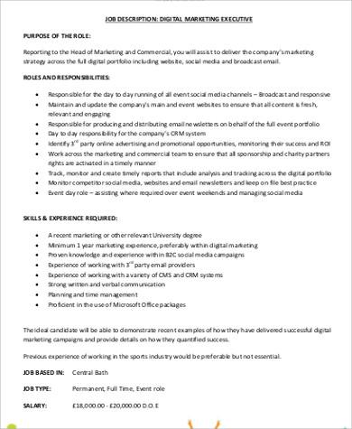 FREE 10+ Social Media Marketing Job Description Samples in MS Word   PDF