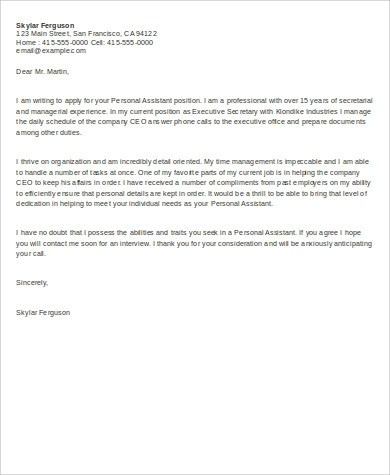 643 Personal Assistant Cover Letter Sample Templates