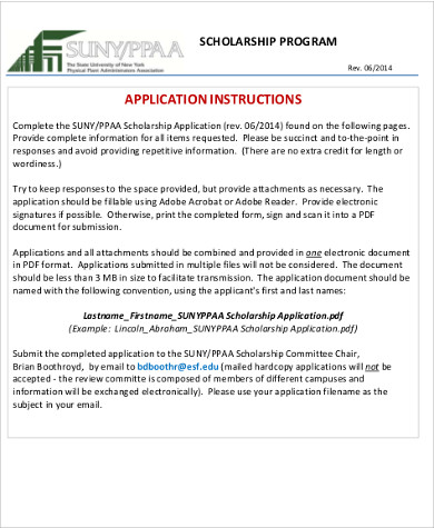 7 Sample Scholarship Application Free Sample Example