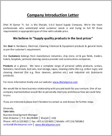 7 Sample Introductory Letters Sample Templates