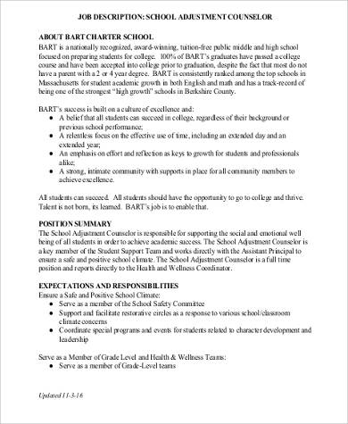School Counselor Job Description Sample  9 Examples in Word PDF