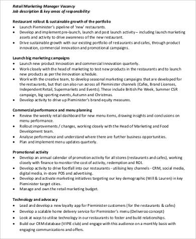 8 Retail Manager Job Description Samples Sample Templates