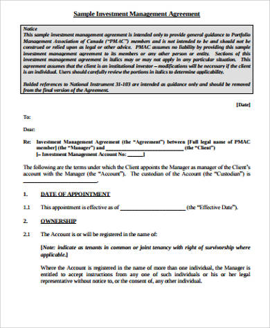 Sample Investment Agreement  16 Examples in Word PDF