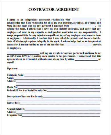 Contractor, which is the entity hired for a task or project. Free 12 Sample Contractor Agreement Templates In Ms Word Pdf Excel