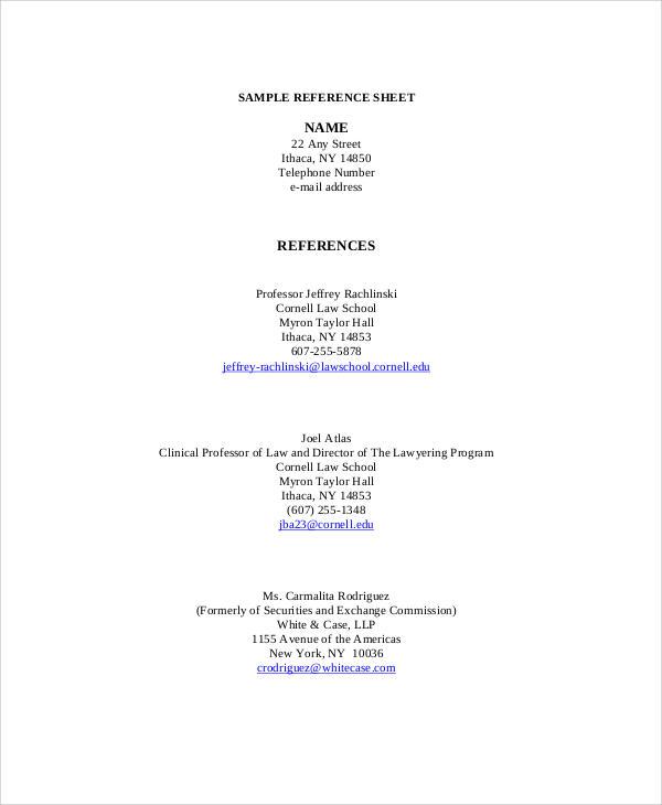 sample reference sheet for resume