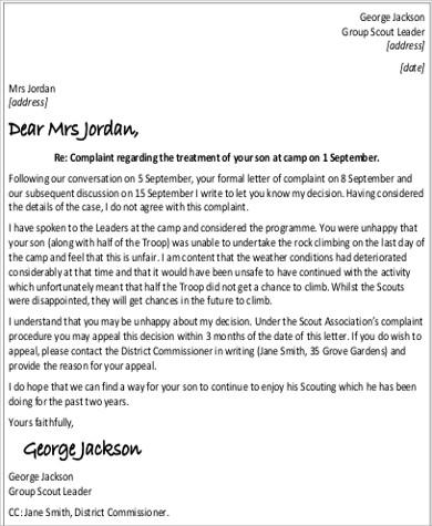 letter format response complaint inspiration resume acierta new ...
