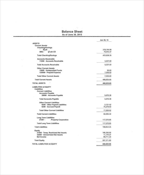 excel balance sheet
