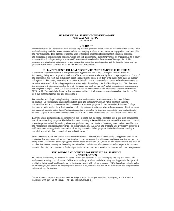 Writing Self Evaluation Essay  Romeo And Juliet Essay Thesis also Essay About Healthy Food  Essay Health