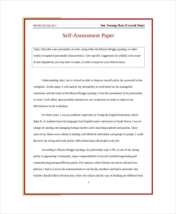 Self Evaluation Essay Sample Images Sampletemplates Com Wp Content