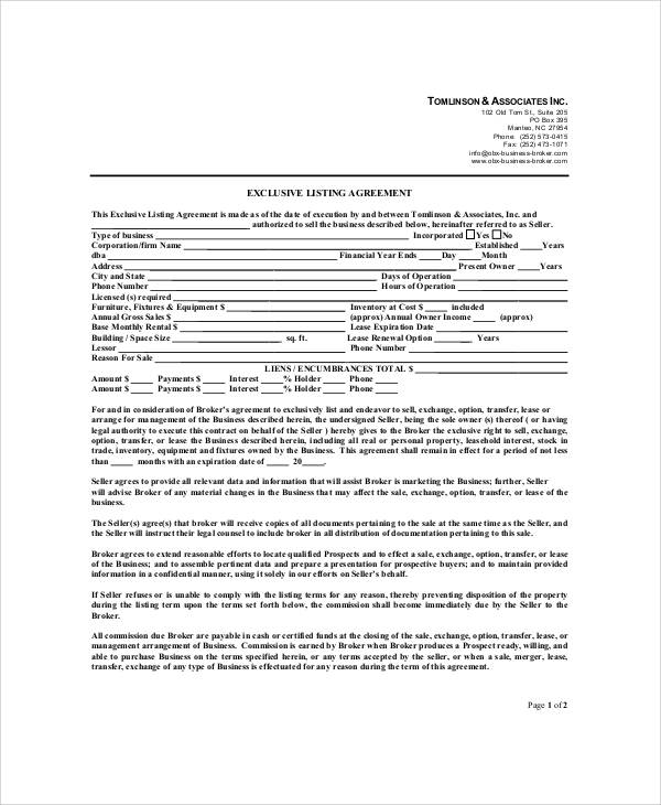 ... Business Listing Agreement   28 Images   Sle Trust Agreement Forms ...