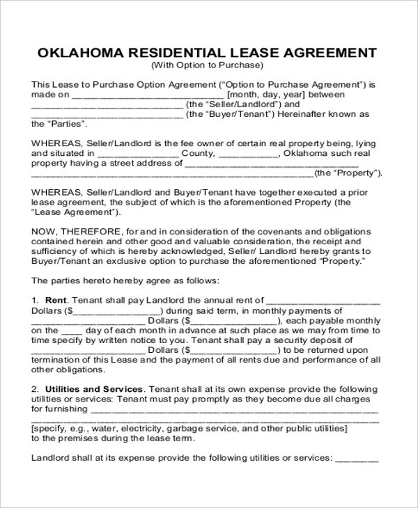 Rent To Own House Contract Form Simple Rental Agreement Templates