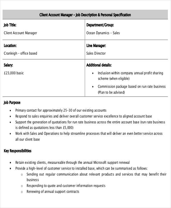 Account Management Job Description Sample  8 Examples in Word PDF