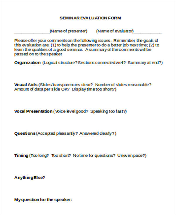 Financial Seminar Evaluation Form Source · Feedback Form For Seminar  Blouses Galleries