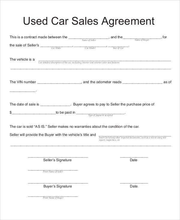 11+ Sample Vehicle Sales Contracts  Sample Templates