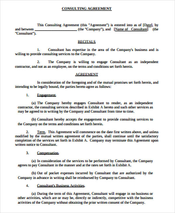 6+ Simple Consulting Agreement Samples | Sample Templates