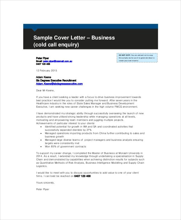 8 Sample Business Enquiry Letters  Word PDF