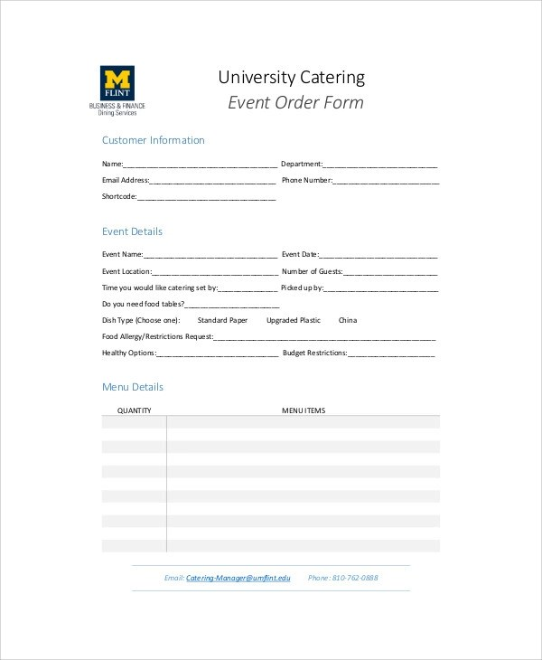 Sample Catering Order Form 11 Examples In Word PDF