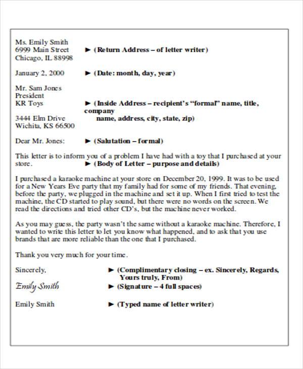 layout for formal letter