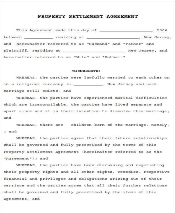 6 Divorce Agreement Samples Sample Templates