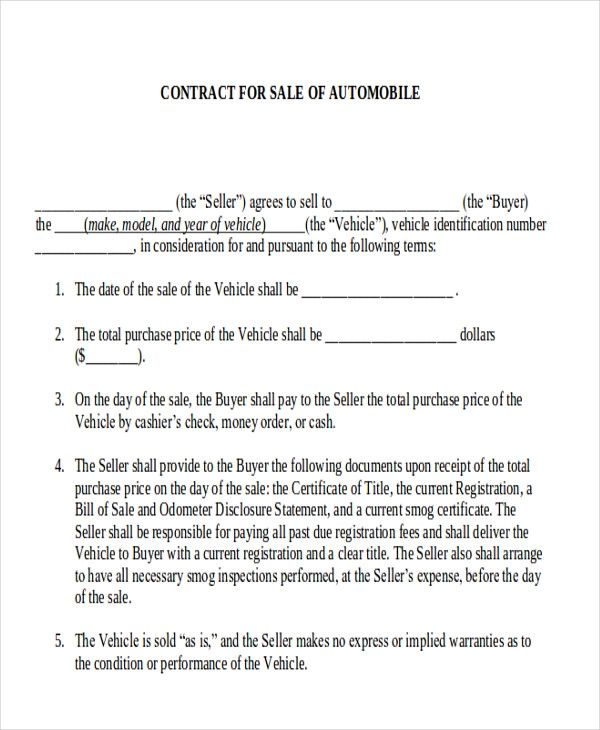 automobile sales contract