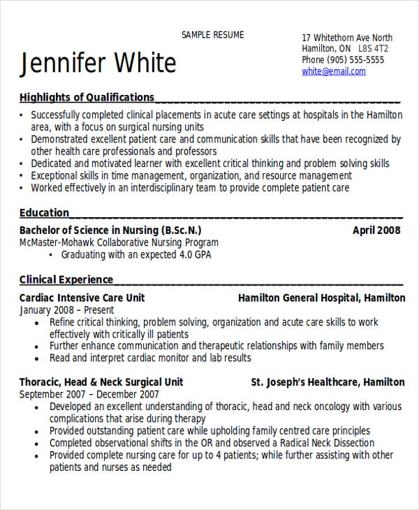 10 Sample Registered Nurse Resumes Sample Templates