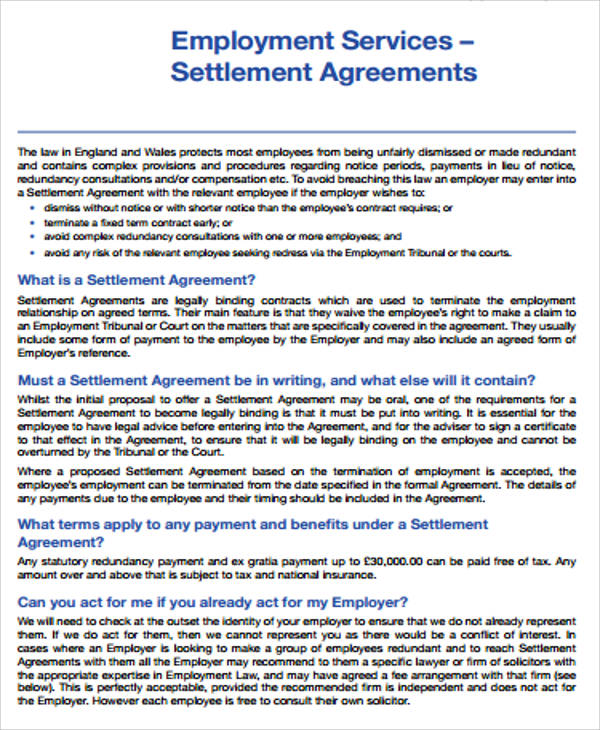 13 Sample Settlement Agreements Word Google Docs Apple Pages Format