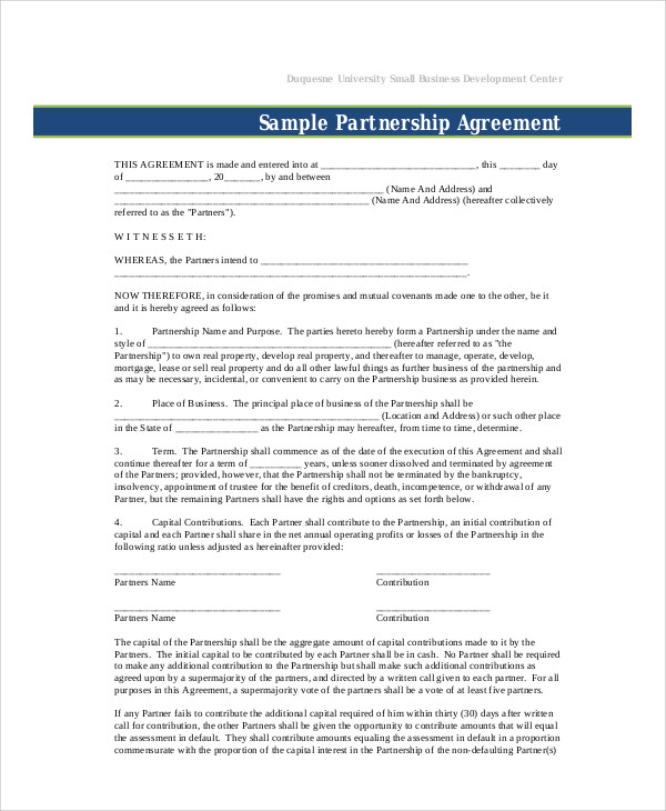 10+ Sample Business Partnership Agreements in PDF | Sample Templates